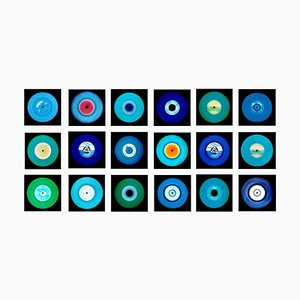 Vinyl Collection, Achtzehn Stück Blues Installation - Pop Art Colour Photography 2017