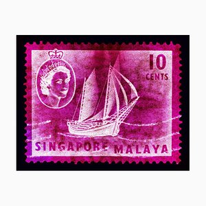 Singapore Briefmarkenkollektion, 10c QEII Ship Series Magenta - Pop Art Color Photo 2018
