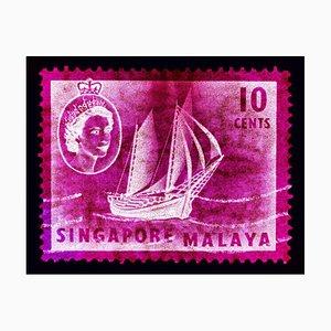 Singapore Stamp Collection, 10c QEII Ship Series Magenta - Pop Art Color Photo 2018