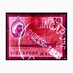 Singapore Stamp Collection, 50c QEII Steamer Ship Pink - Pop Art Color Photo 2018