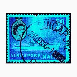 Singapore Briefmarkenkollektion, 50c QEII Dampfschiff Cyan - Pop Art Color Photo 2018