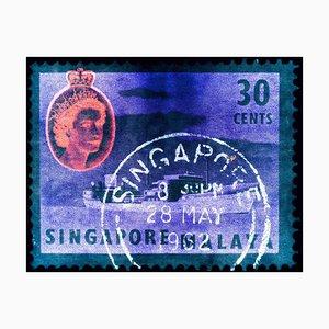 Singapur Briefmarkensammlung, 30 Cents QEII Öltanker Aquamarin - Pop Art Color Photo 2018