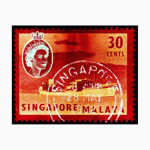 Singapore Stamp Collection, 30 Cents QEII Oil Tanker Red - Pop Art Color Photo 2018