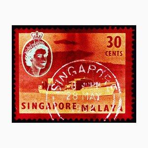 Singapur Briefmarkensammlung, 30 Cent QEII Öltanker Rot - Pop Art Farbfoto 2018