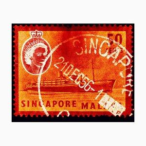 Singapore Briefmarkenkollektion, 50c QEII Dampfschiff Orange - Pop Art Color Photo 2018