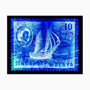 Singapore Briefmarkenkollektion, 10 Cents QEII Ship Series in Blau - Pop Art Color Photo 2018