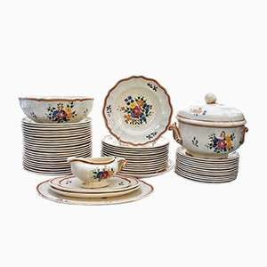 Vintage French Earthenware Model Mistral Service from Longchamp, Set of 54