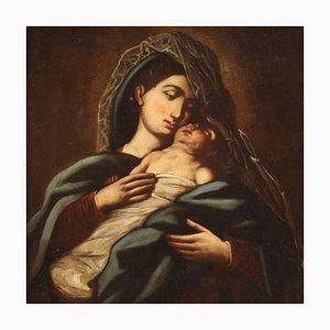 Antique Italian Painting Virgin With Child, 18th Century
