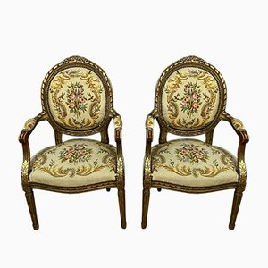 Louis XVI Gilded Wood Medallion Lounge Chairs, 1850s, Set of 2