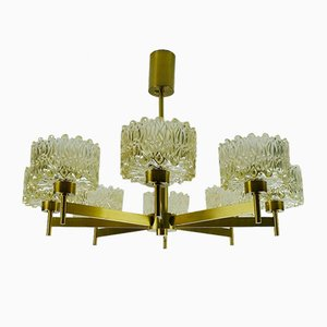 Large Mid-Century Amber Glass and Brass Chandelier, 1960s