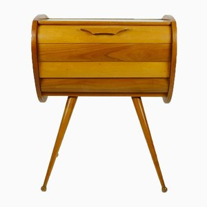 Mid-Century Cherry Wood Sewing Box, 1950s