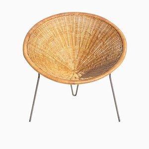 Mid-Century Italian Rattan & Wicker Lounge Chair by Roberto Mango, 1950s