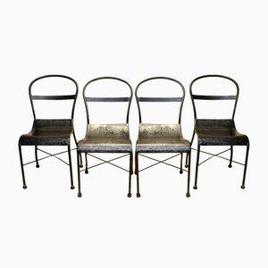 Polierte Metall Esszimmerstühle, 1930er, 4er Set