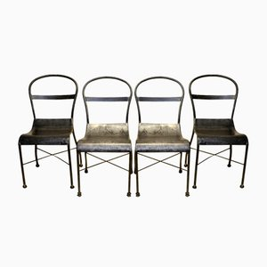 Polished Metal Dining Chairs, 1930s, Set of 4