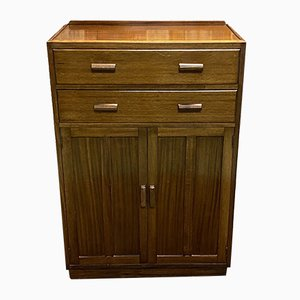 English Mahogany Storage Cabinet with Drawers and 2 Doors, 1950s