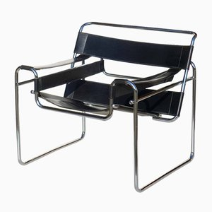 Bauhaus Black Leather Wassily Style Lounge Chair, 1960s