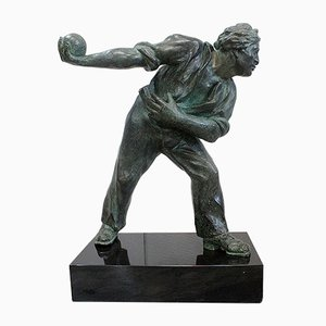 The Boules Player, Bronze Sculpture with Green Patina, Early Twentieth Century