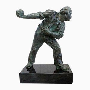 The Boules Player, Bronze Skulptur mit Grüner Patina, Frühes 20. Jahrhundert