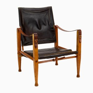 Danish Safari Armchair in Black Leather by Kaare Klint for Rud. Rasmussen, 1960s
