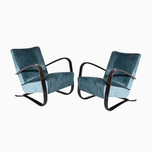 Vintage Czech Lounge Armchairs by Jindřich Halabala, 1930s, Set of 2