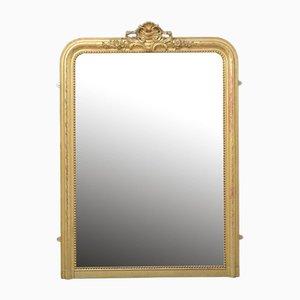 Französischer Spiegel mit vergoldetem Holzrahmen, 19. Jh