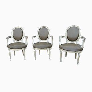 Louis XVI Cabriolet Dining Chairs with Medallion Backrest, Set of 3
