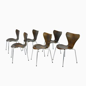 Model 3107 Dining Chairs by Arne Jacobsen for Fritz Hansen, 1960s, Set of 6