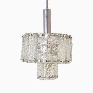 Mid-Century Italian Pendant Lamp in Nickel-Plated and Glass, 1960s