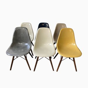Mid-Century Navy Blue Walnut DSW Dining Chairs by Charles & Ray Eames for Herman Miller, Set of 6