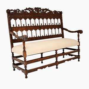 Antique Finely Carved Walnut Settee