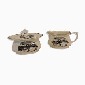Sugar Bowl & Creamer from Societe Ceramique Maestricht, 1950s, Set of 2
