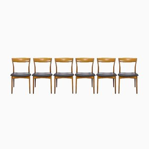 Danish Teak Dining Chairs with Faux Leather, 1960s, Set of 6