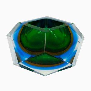Aschenbecker oder Vide Poche in Grün und Blau von Flavio Poli für Seguso, 1960er