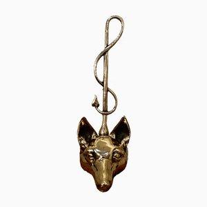 Victorian Brass Fox Head and Whip Doorstop