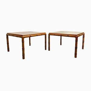 Vintage Wooden Faux Bamboo Coffee Tables, 1970s, Set of 2