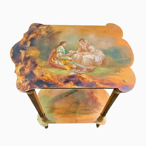 Antique Side Tables with Painted Scenes, Set of 2