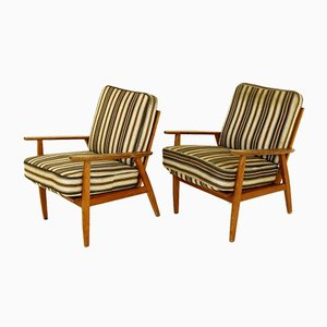 Schwedische Eichenholz Armlehnstühle, 1950er, 2er Set
