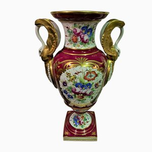 French Hand-Painted Amphora-Shaped Vase, 1950s
