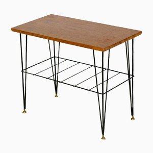 Schwedischer Teak & Metall Stringbord Beistelltisch, 1960er