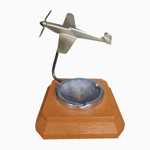 Art Deco Ashtray with Propeller Airplane, 1930s