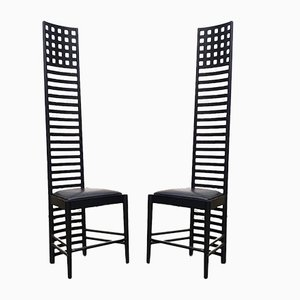 Mid-Century Modern Italian Black Leather Hill House 1 Dining Chairs by Charles Rennie Mackintosh, 1978, Set of 2
