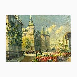 Rue de Paris, André Franchet, 20th Century, Oil On Canvas, École Française