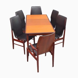 Danish Teak Extendable Dining Table & Chairs, 1960s, Set of 7