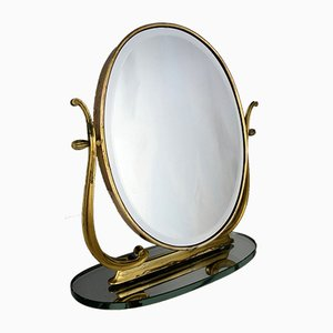 Mid-Century Italian Brass Vanity Mirror from Brusotti