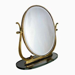 Mid-Century Italian Brass Vanity Mirror from Brusotti