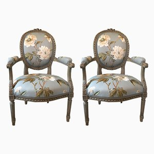 Antique Louis XVI Lounge Chairs, Set of 6