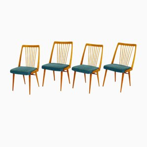 Swedish Beech Dining Chairs, 1950s, Set of 4