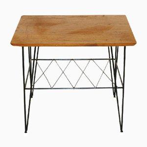 Tavolino in teak e stoffa in metallo, Svezia, anni '60