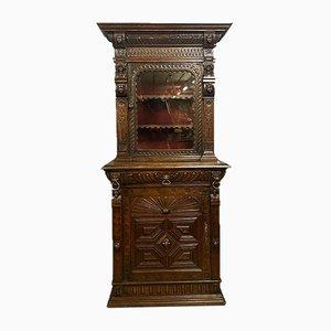 Renaissance Solid Oak Bookcase Cabinet, 1850s