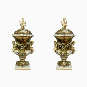 Porcelain Gold Vases, 1920s, Set of 2